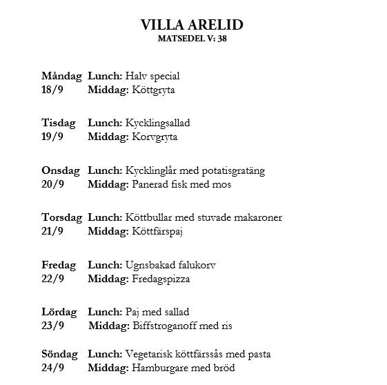 Villa Arelid Nyheter Veckomatsedel V.38