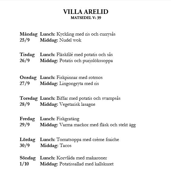 Villa Arelid Nyheter Veckomatsedel V.39