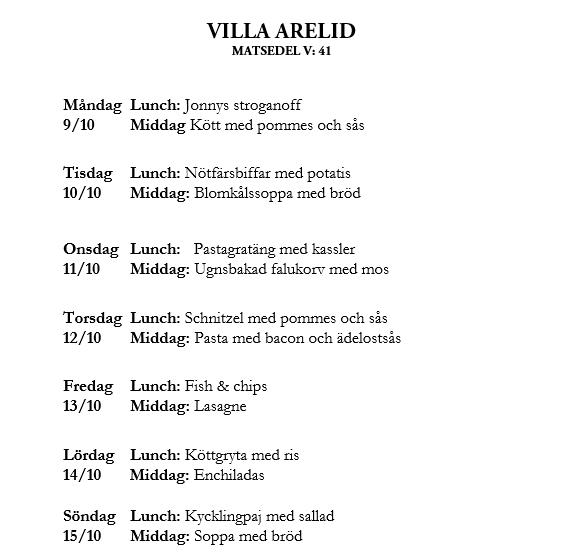 Villa Arelid Nyheter Veckamatsedel V.41