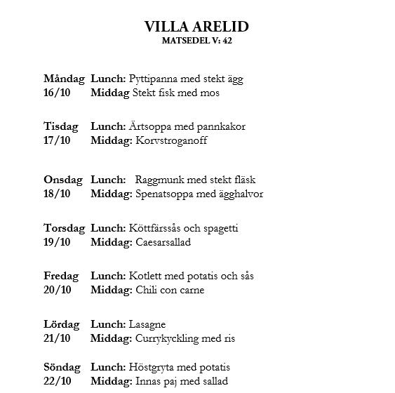 Villa Arelid Nyheter Veckomatsedel V.42