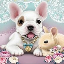 Hund med kanin, rund, 20x20cm - Hund med kanin, rund, 20x20cm