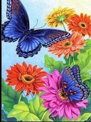 Fjärilar, fyrkant eller rund 25x30cm - Fjärilar Fyrkant