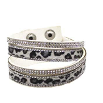 Armband leopard grå långt - dubbelt - Armband leopard grå 160002