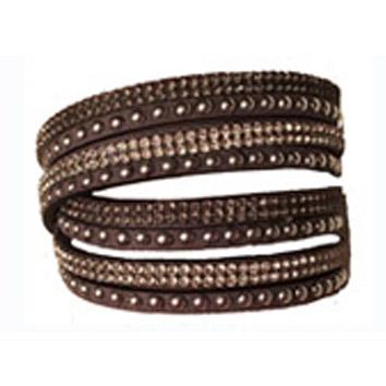 Armband nitar å bling Brunt långt - dubbelt - Armband nitar bruna 160026