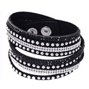 Armband nitar å bling Svart långt - dubbelt - Armband nitar svart 160029