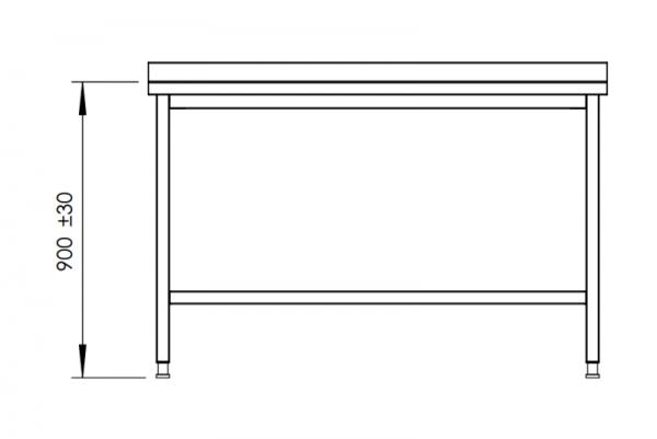 Rostfri arbetsbänk med bakkant 120 cm