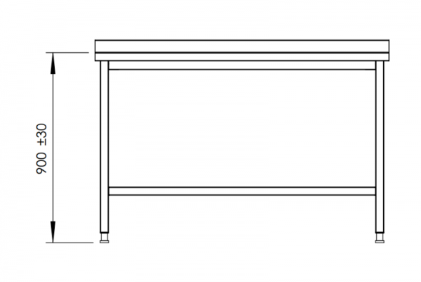 Rostfri arbetsbänk med bakkant 160 cm