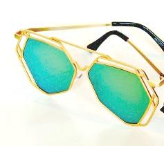 Solglas Napoli grön eller rosa spegel