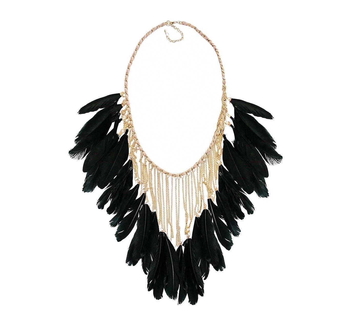 svart fjäder halsband