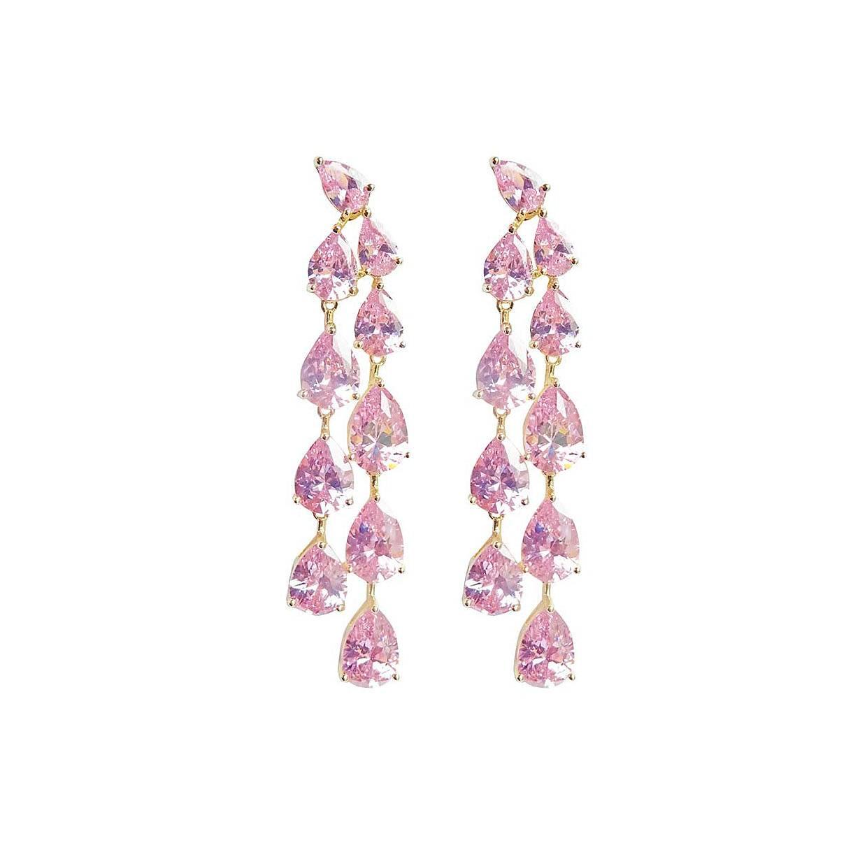 rosa långa örhängen