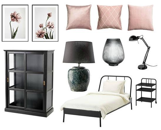 Genom att byta färg på kuddar och tavlor är det enkelt att ändra karaktär på gästrummet. Bilder och produkter från IKEA, Ilva, Desenio och H&M Home.
