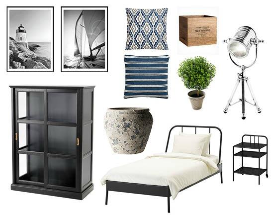 Kanske passar den här stilen ditt gästrum. Bilder och produkter från IKEA, Ilva, Desenio och H&M Home.