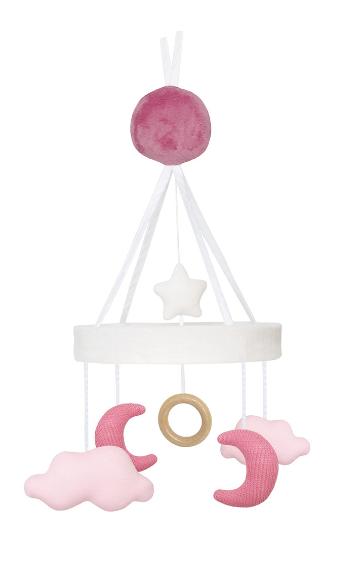 N0117 Music mobile moon pink