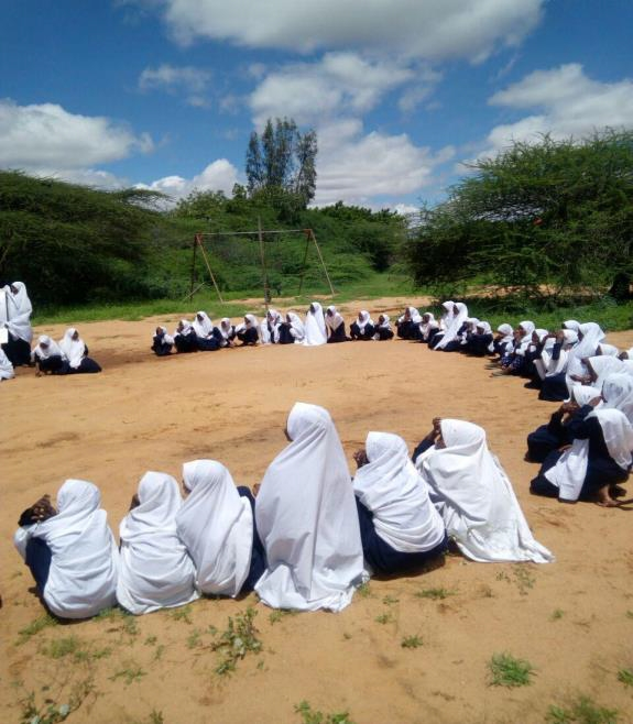 Girls at the schools compound for co curriculum activities.
