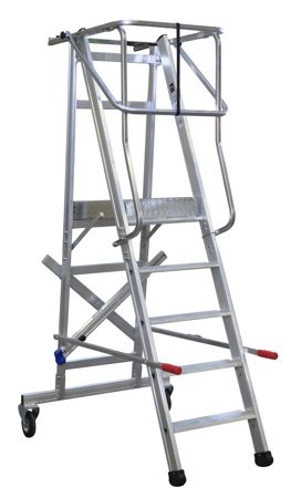 Arbetsplattform med skyddsräcke och hjul, art.nr 7125