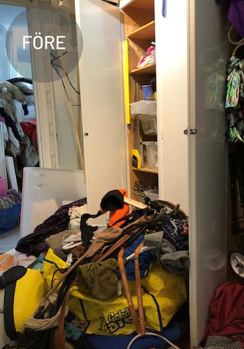 Före och efter, rensning och organisering av hall.