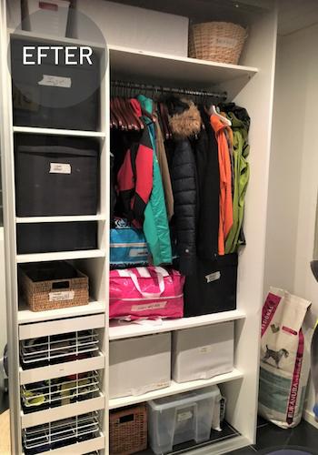 Före och efter, rensning och organisering av garderob.