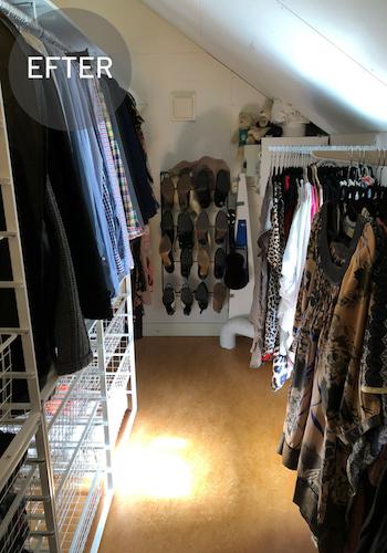 Före och efter rensning och organisering garderob