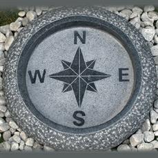 Fågelbad kompass, natursten