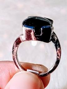 Silverring svart sandsten