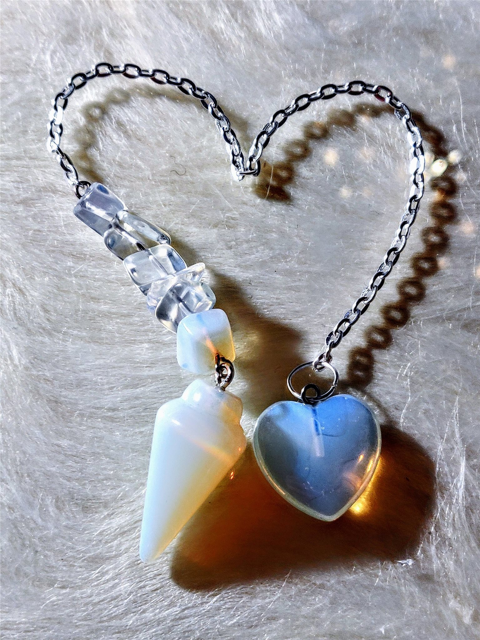 29 mm Opalite with Opalite chips and heart
