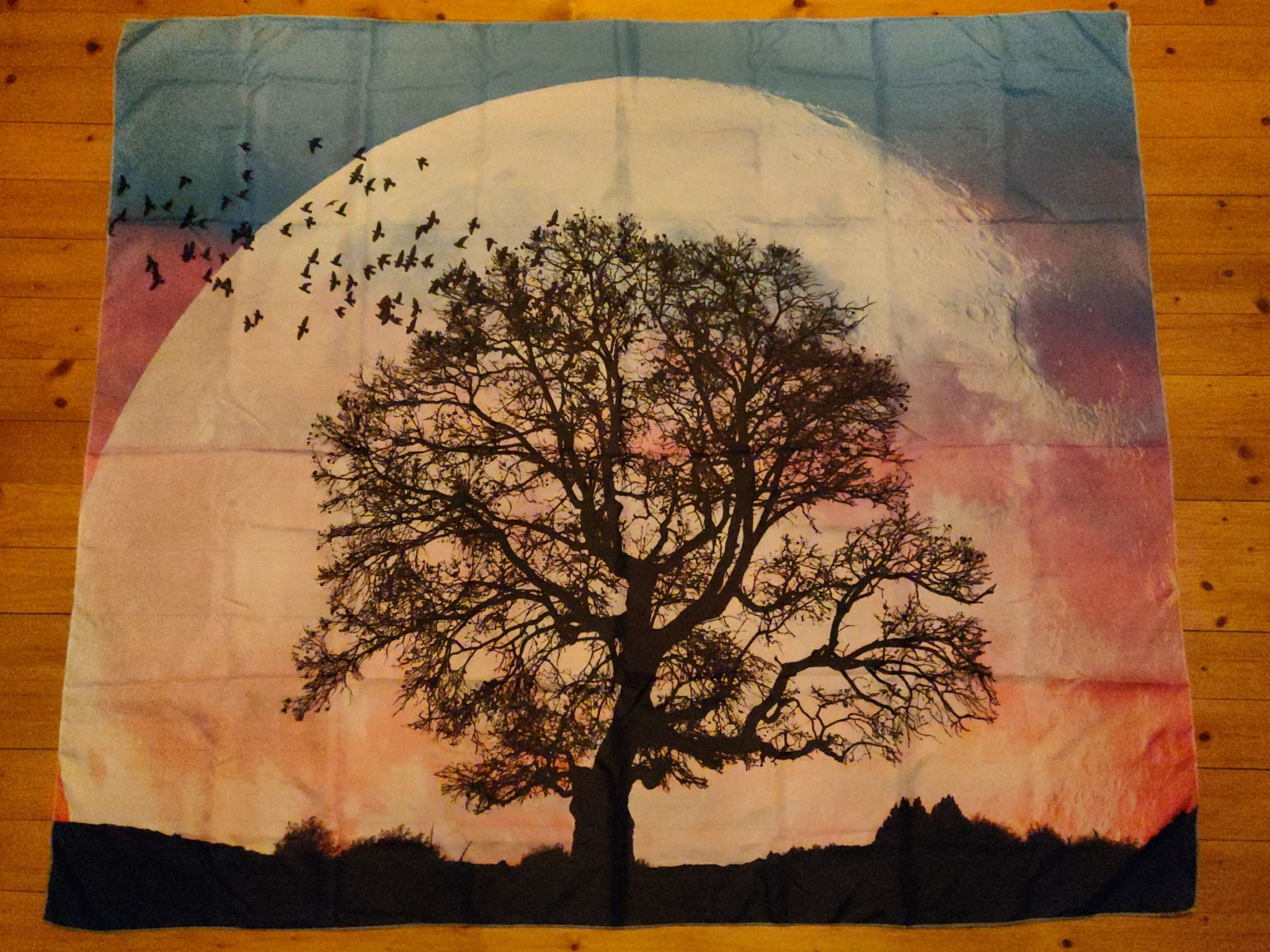 Giant Pink Moon with Tree Walltapestry