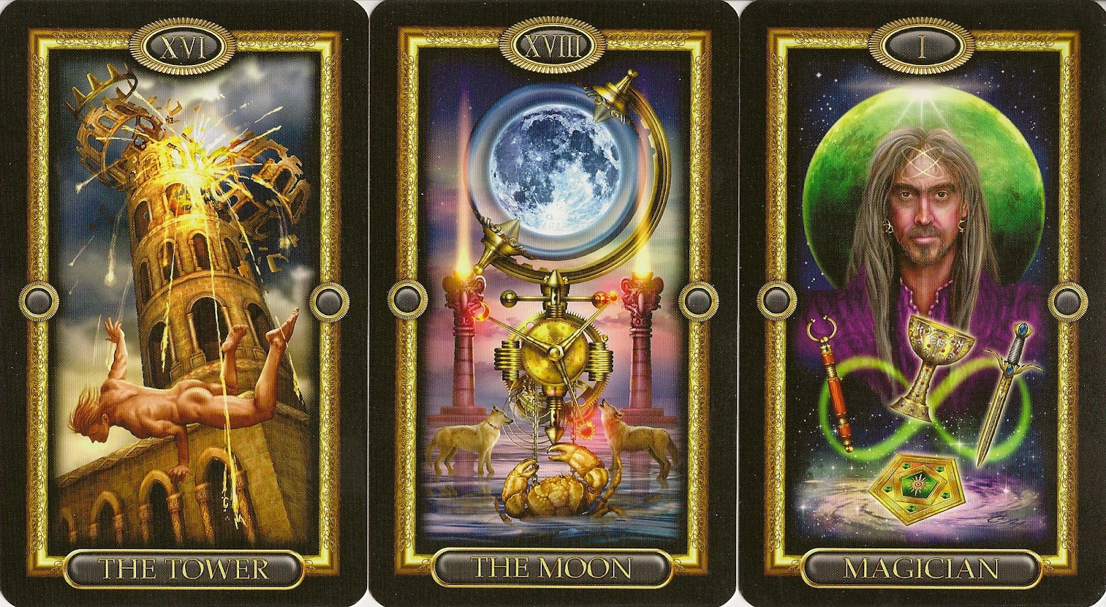 Gilded Tarot Royale Tower Moon Magician