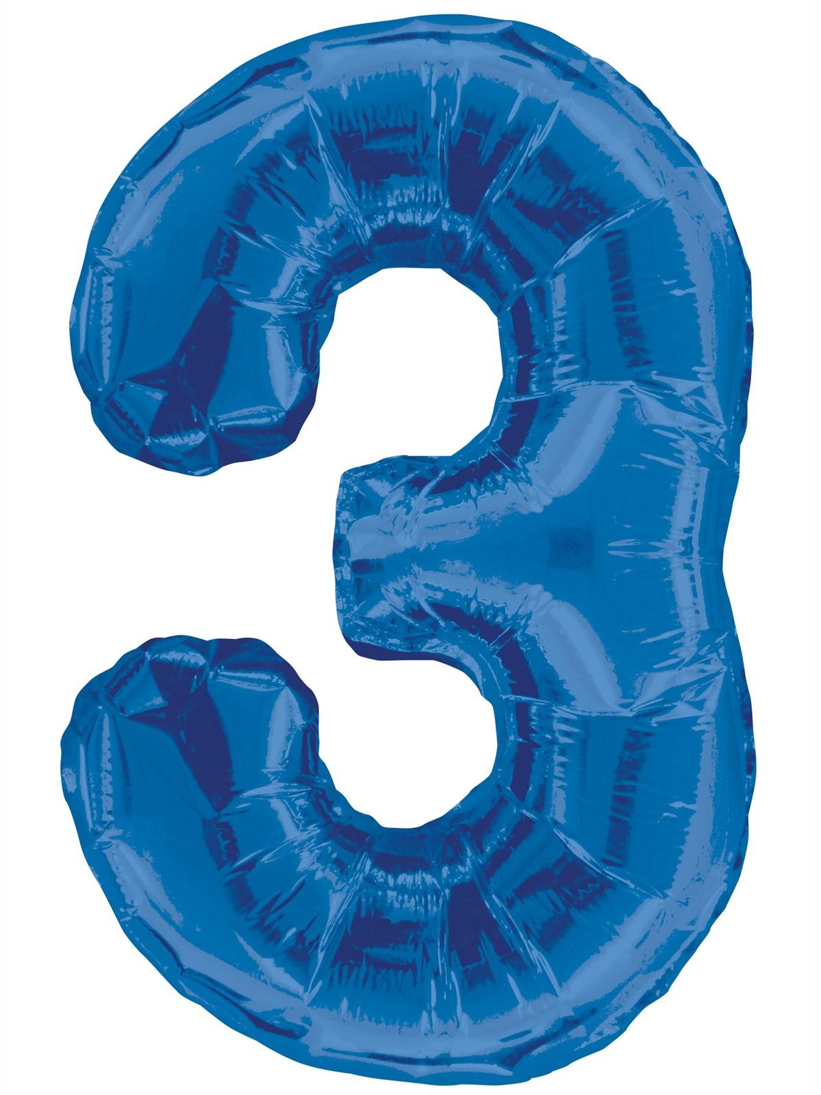 Folieballong 86cm siffra blå 3  49kr