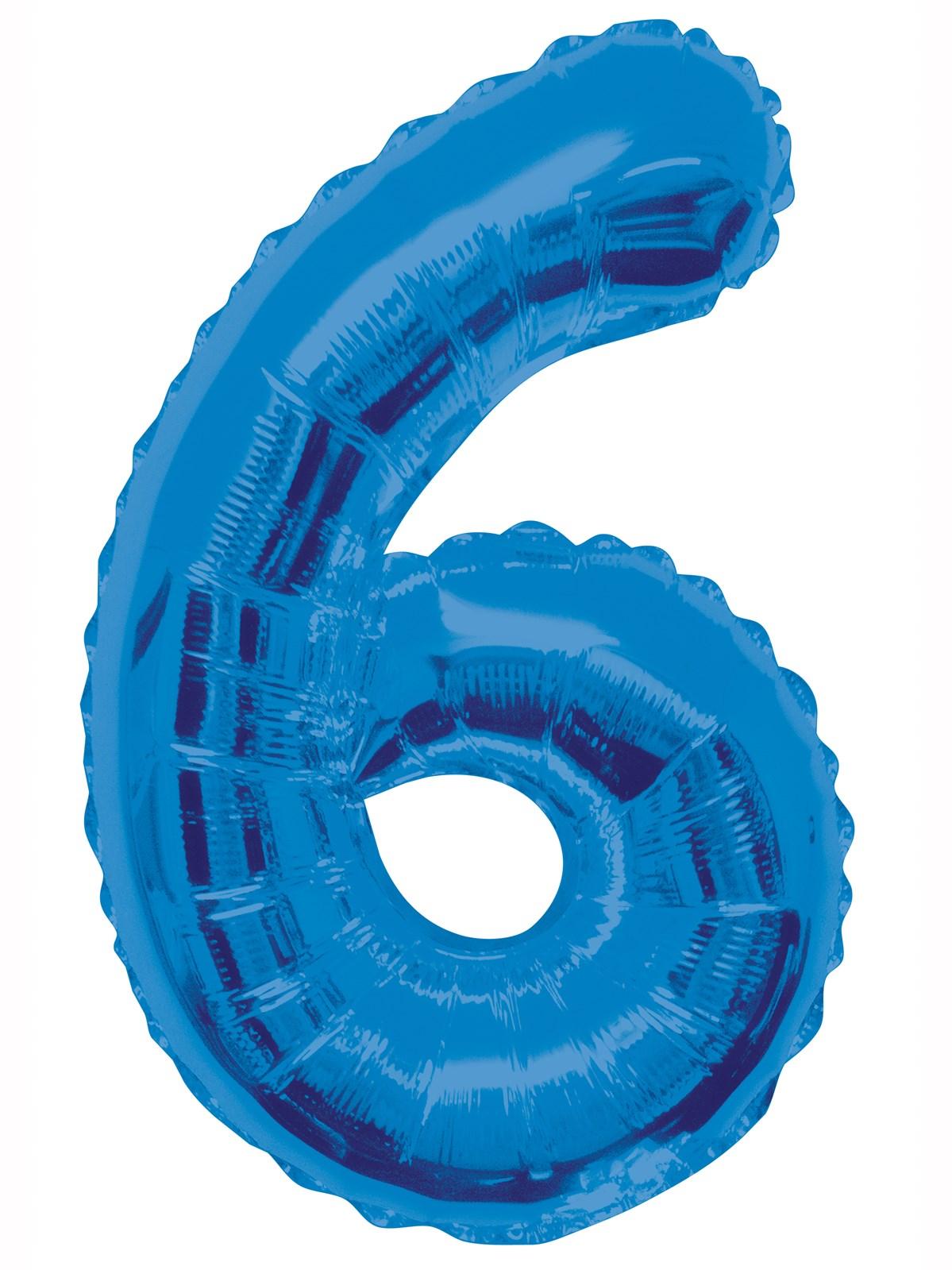 Folieballong 86cm siffra blå 6  49kr