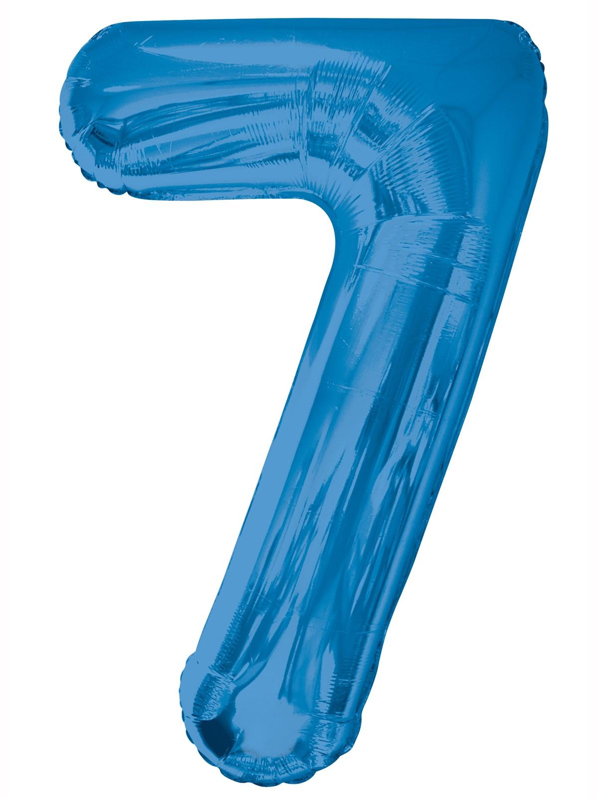 Folieballong 86cm siffra blå 7  49kr