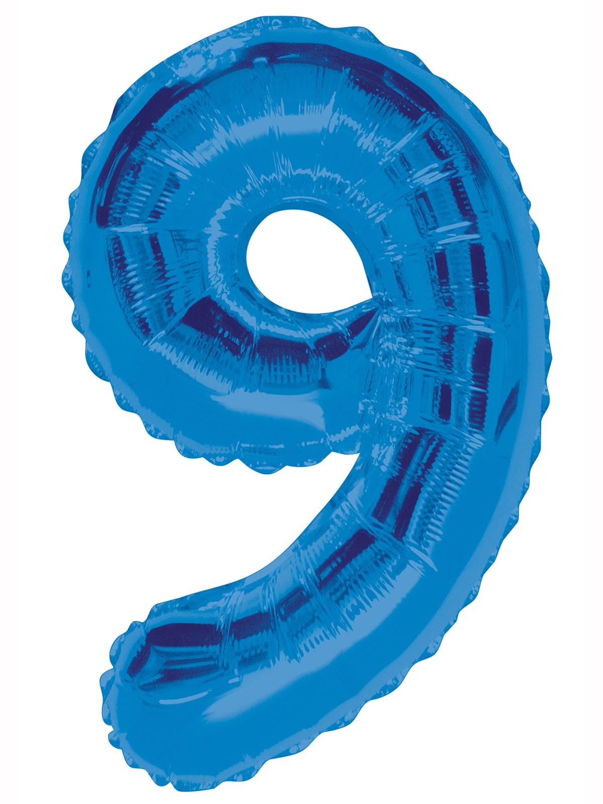 Folieballong 86cm siffra blå 9  49kr