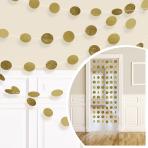 Pappersgirlanger 6p 2,13m guld/glitter cirklar -