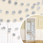 Pappersgirlanger 6p 2,13m silver/glitter cirklar -