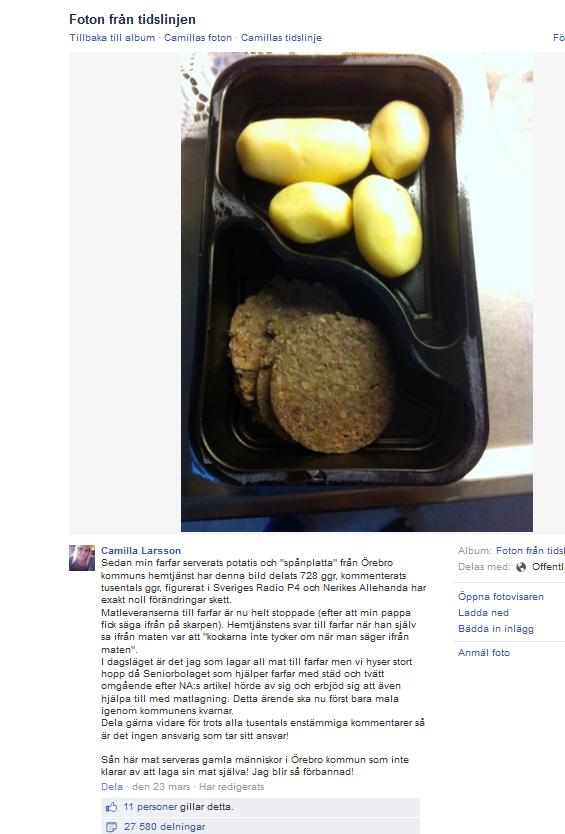 Skärmdump som visar maten på vissa äldreboenden i Örebro kommun