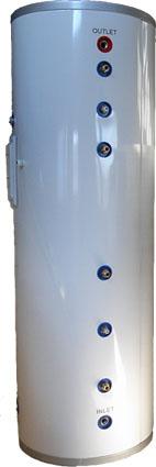 Ackumulatortank 300L,  med två slingor, en i toppen och en i botten. Ackumulatortanken har även inbyggd elpatron på 2kW