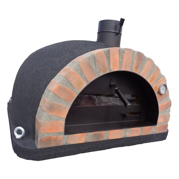 Pizzaugn | Vedugn | Stenugn Forno Deluxe svart med rött rustikt tegel