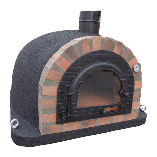 Pizzaugn | Vedugn | Stenugn Forno Deulxe svart med rustikt rött tegel