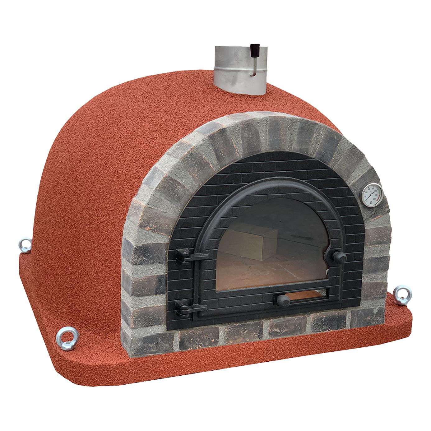 Pizzaugn | Vedugn | Stenugn Forno Deulxe röd med rustikt svart tegel