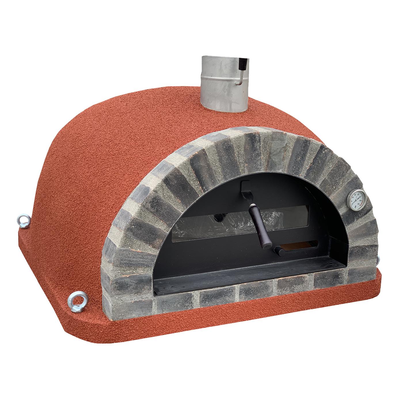 Pizzaugn | Vedugn | Stenugn Forno Deluxe röd med svart rustikt tegel