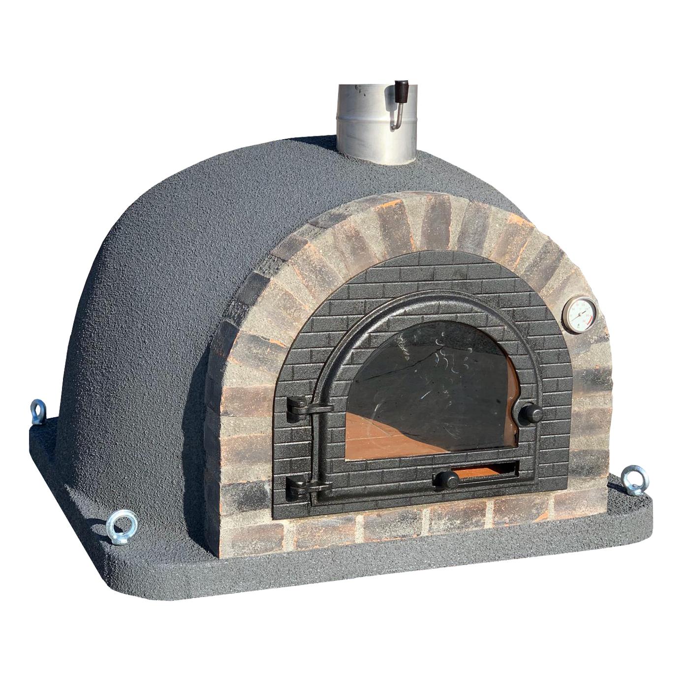 Pizzaugn | Vedugn | Stenugn Forno Deluxe grå med svart rustikt tegel