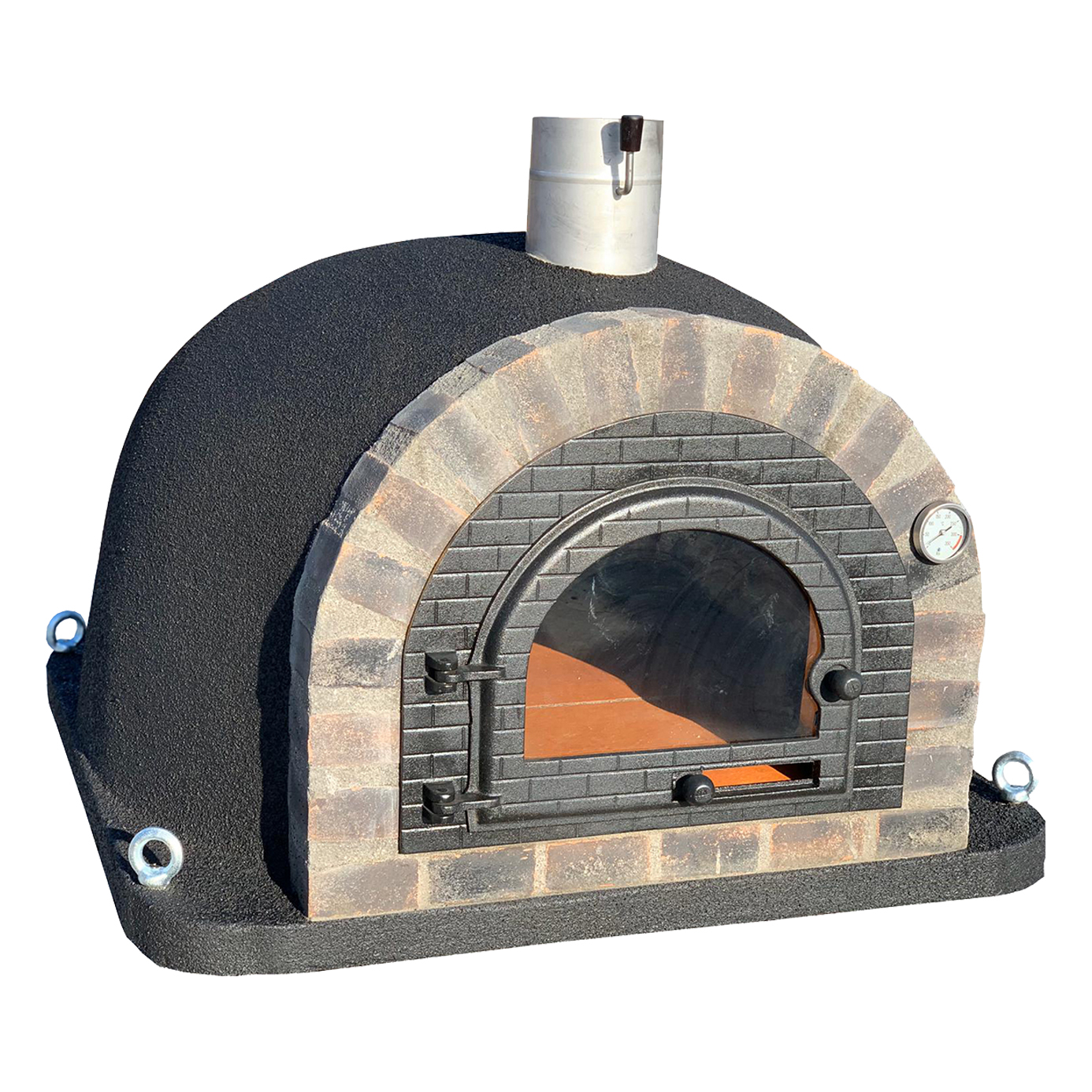 Pizzaugn | Vedugn | Stenugn Forno Deluxe svart med svart rustikt tegel