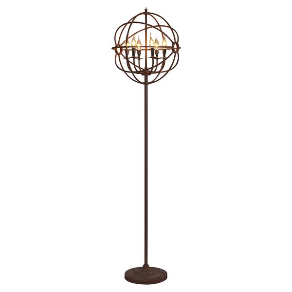 gyro golvlampa rost artwood billigt industriell metall