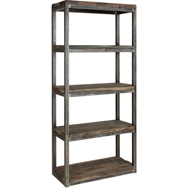 AXEL Single bookshelf artwood skåp hylla billigt återvunnet trä metall 5 hyllplan
