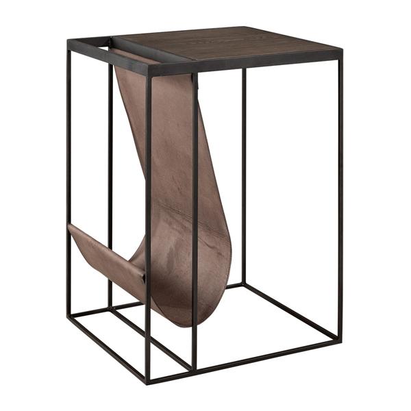 MAGAZINE Bedsidetable high sängbord sidobord artwood billigt trä läder stål