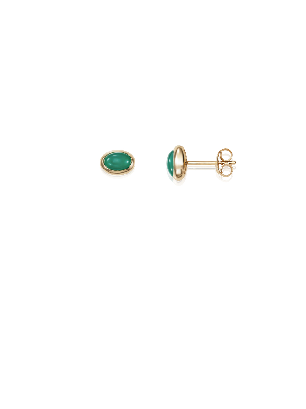 Love Bead Ear Green Agate 12-101-01453(2)