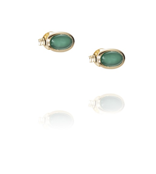 Love Bead Ear Green Agate 12-101-01453(1)