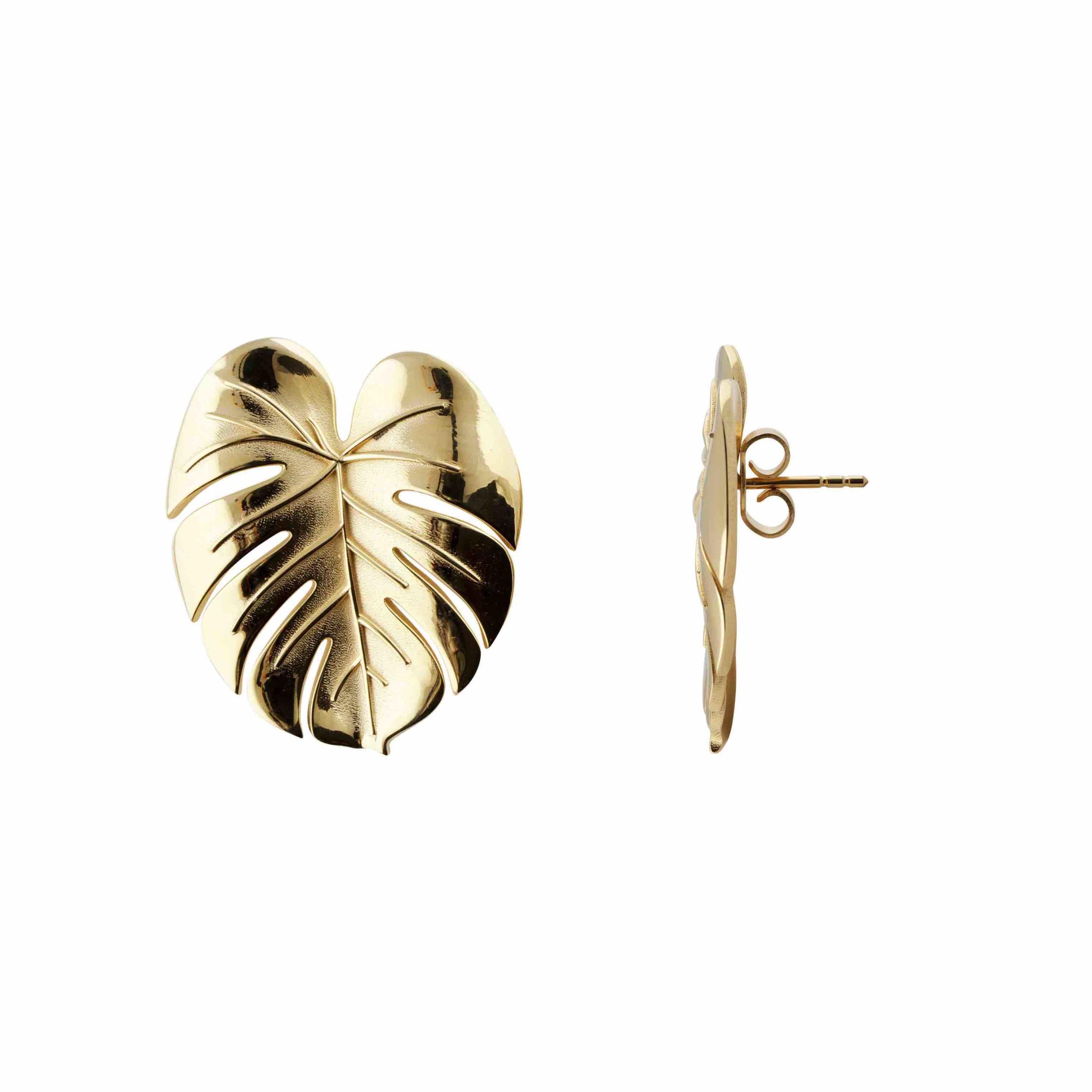 Palm Leaf earrings L gold B