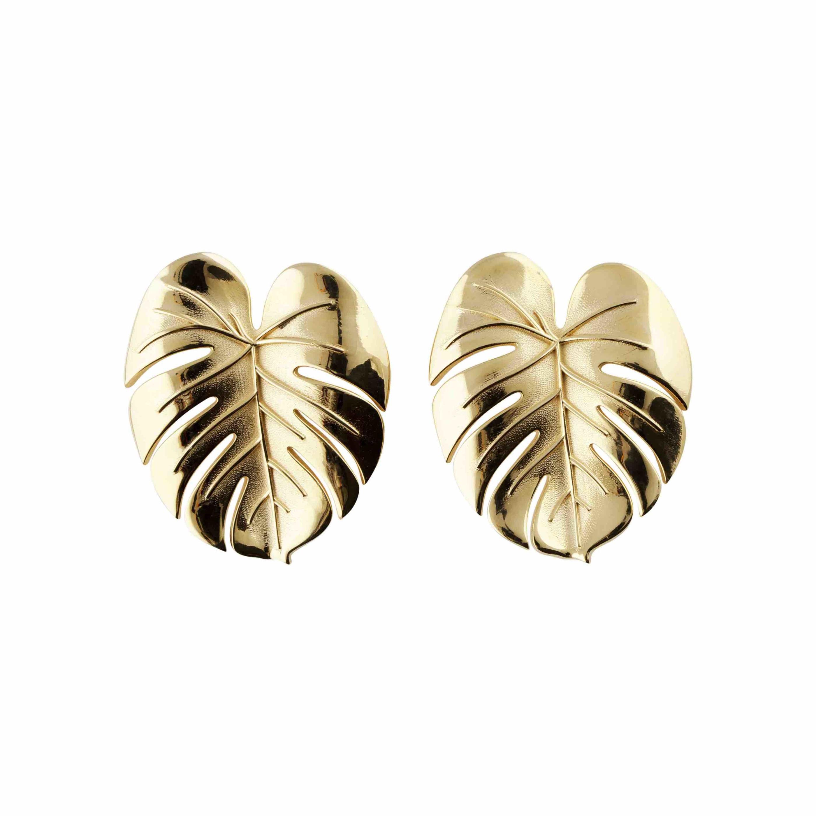 Palm Leaf earrings large gold