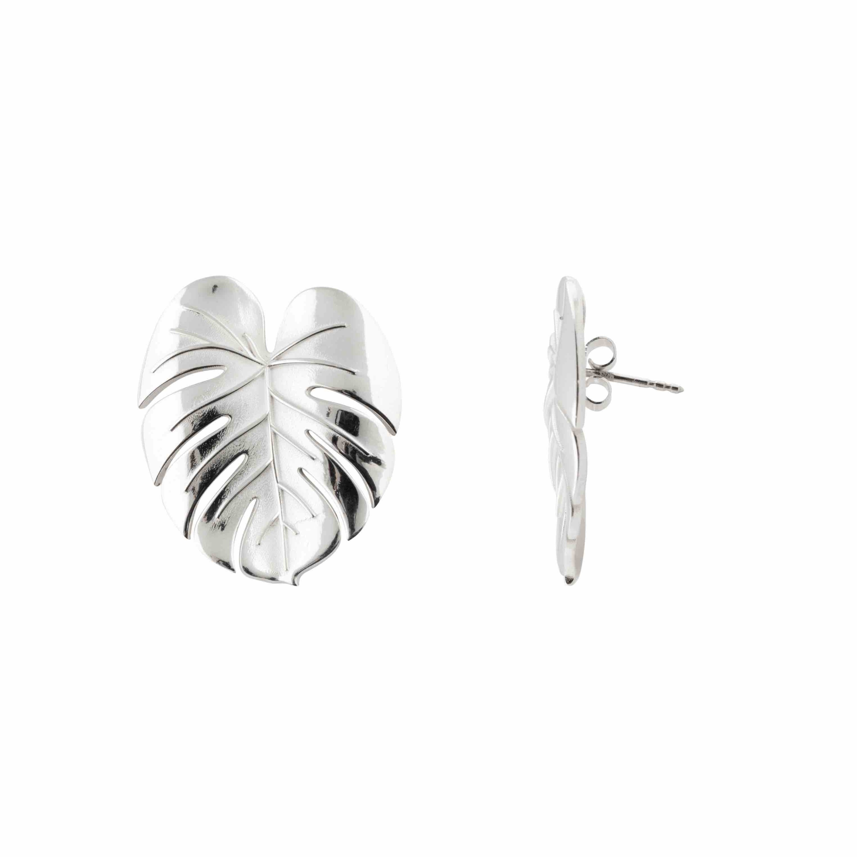 Palm Leaf earrings silver B