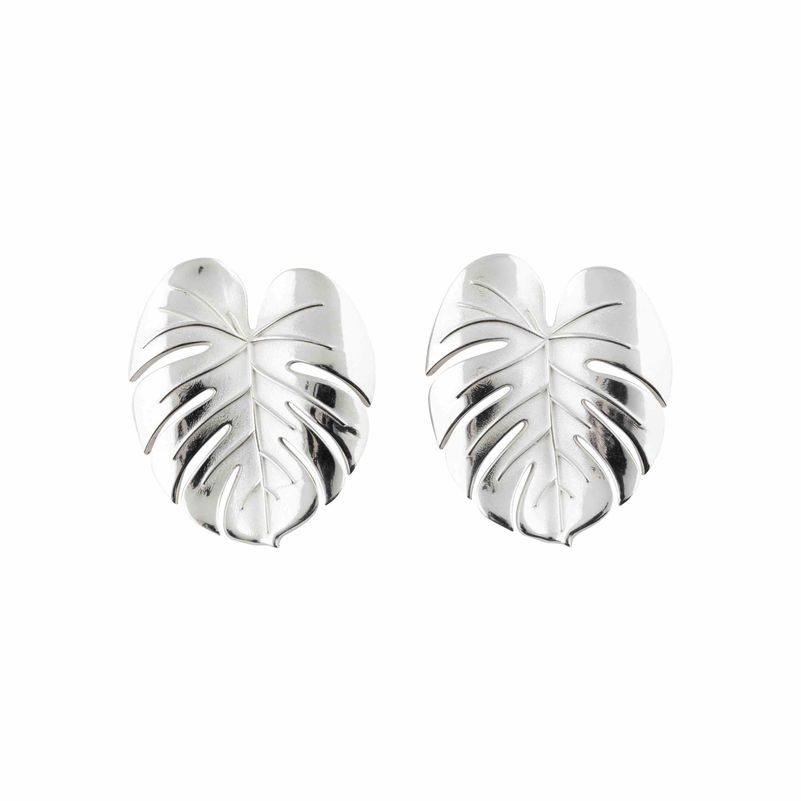 Palm Leaf earrings silver L